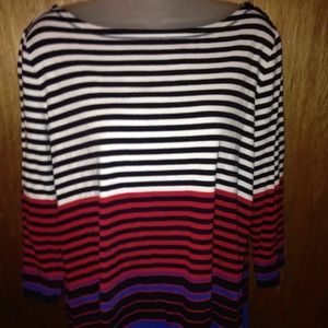 Talbots Weekend Tee Boat Neck Striped 1X
